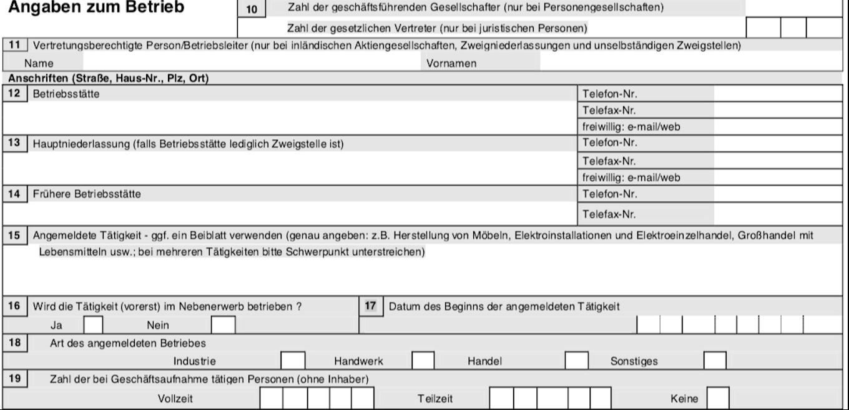 Gewerbeanmeldung Formular - Angaben zum Betrieb