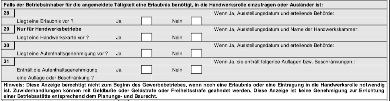 Gewerbeanmeldung Formular - Besondere Angaben