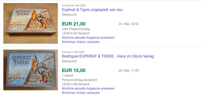 eBay Brettspiel Euphrat & Tigris - Verkaufte Artikel