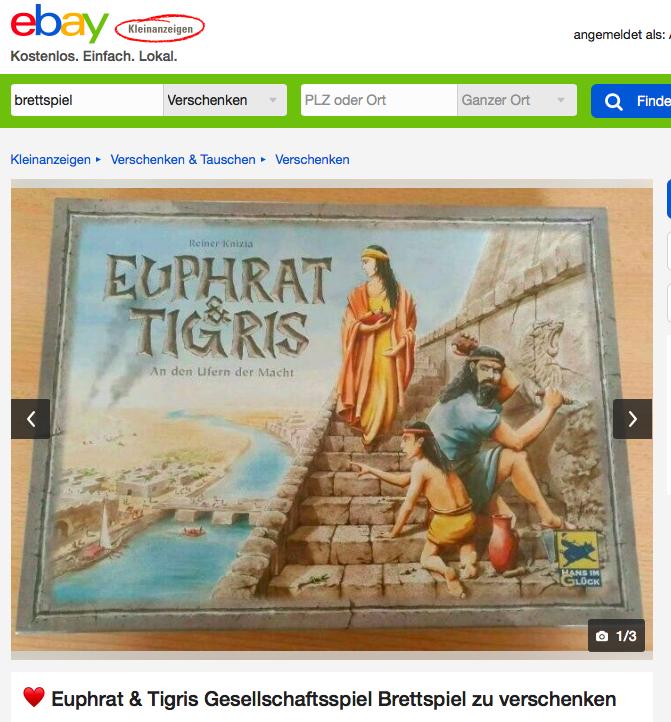 eBay Kleinanzeigen Brettspiel Euphrat & Tigris - Kostenlos