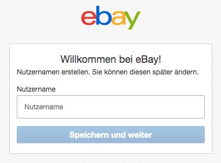 eBay Nutzername auswählen