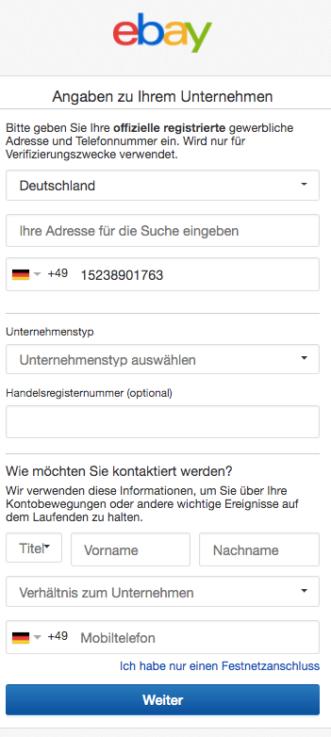 eBay Angaben zum Unternehmen