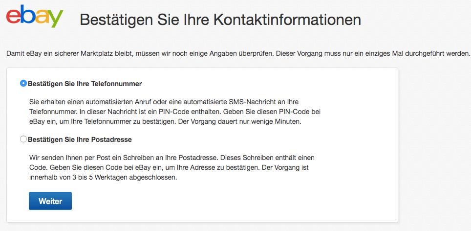 Verifizierung deiner eBay Kontaktdaten
