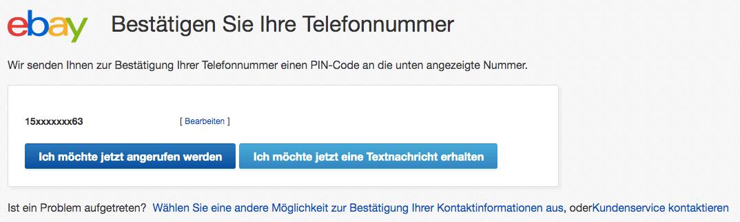 Verifizierung deiner eBay Kontaktdaten (Telefonnummer)