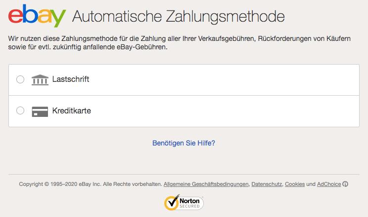 Automatische eBay Zahlungsmethode